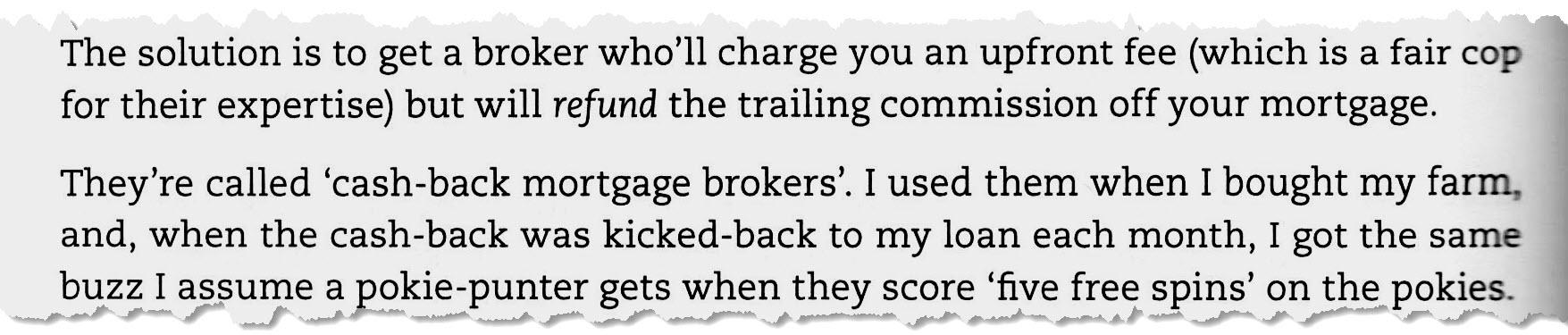 Barefoot Investor cash-back mortgage brokers snippet